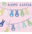 Happy Easter bunny rabbits card vector image
