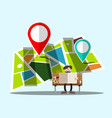 navigation map with pins and man on bench - vector image
