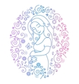 Pregnant woman inside round frame vector image