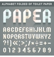 Alphabet folded of toilet paper vector image vector image