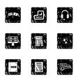Language learning icons set grunge style vector image