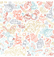 seamless linear valentines pattern vector image