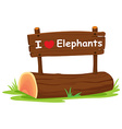 I love elephant vector image vector image