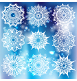 Set of white round ornament with pattern brush vector image