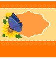 Greetings card with sunflower and butterfly vector image