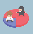 Businessmen standing on chart Market share concep vector image