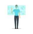 cartoon virtual reality man with futuristic vector image