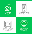 set of money and bank cash diamond coin logo or vector image