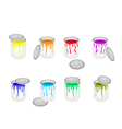 Set of Opened Buckets with Six Paint Colors vector image