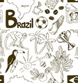 Sketch Brazil seamless pattern vector image
