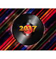Twenty Seventeen New Year vinyl record background vector image