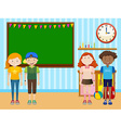 Students standing in the classroom vector image