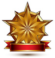 Complicated golden design element with polygonal vector image