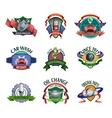 Auto mechanic service emblems set vector image