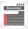 Calendar 2013 November vector image