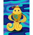 Cute chef fish cartoon holding spatula vector image
