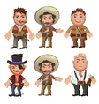 Five men characters in a cartoon wild West style vector image