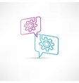 gear into speech bubbles vector image
