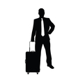 man with travel bag silhouette in black vector image