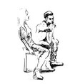 pencil isolated silhouette of a girl and a guy are vector image
