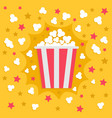 popcorn popping explosion red yellow strip box vector image