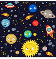 seamless pattern with cute solar system vector image