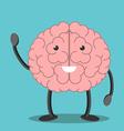 Brain character waving hand vector image