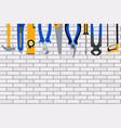 repair tools and instruments on brick wall vector image vector image
