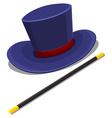 Magician hat and magic wand vector image