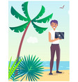 business travel poster with freelancer on beach vector image