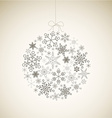 Christmas ball made from gray simple snowflakes vector image