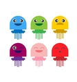 color cute jellyfish smiling icon set vector image