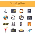 Flat design icons set of planning a summer vector image