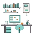 Home workplace flat design Workspace for vector image