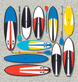 stand up paddle boards and paddles set in vector image