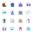Winter clothes icons set cartoon style vector image