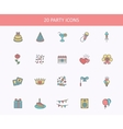 Outline web icons set - Party Birthday Holidays vector image