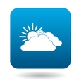 Sun and clouds icon in simple style vector image