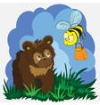 Beautiful card with little bear and bee vector image