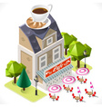 Cafe Building Tint Icon Isometric vector image