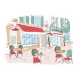 colored drawing of summer sidewalk cafe vector image