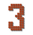 Number 3 made from realistic stone tiles vector image
