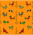 tree with cute colorful birds seamless pattern vector image