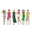 set of stylish summer girlsfashion models vector image