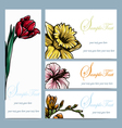 set of four floral invitation card vector image vector image