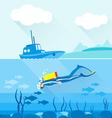Scuba diver exploring ocean bottom vector image