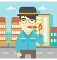 Businessman smoking cigar vector image