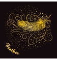 Decorative feather with curls on a dark background vector image