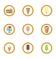 delicious ice cream icons set cartoon style vector image