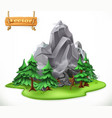 forest and mountain camping 3d icon vector image